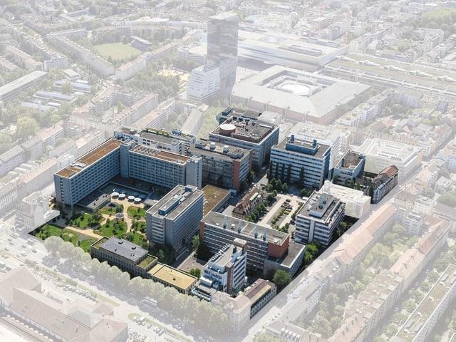 Luftbild von oben, das neue geplante Quartier als Visualisierung.