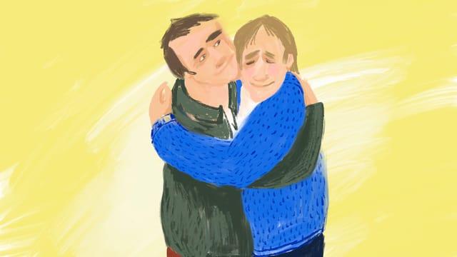 Zwei Männer umarmen sich lächelnd.
