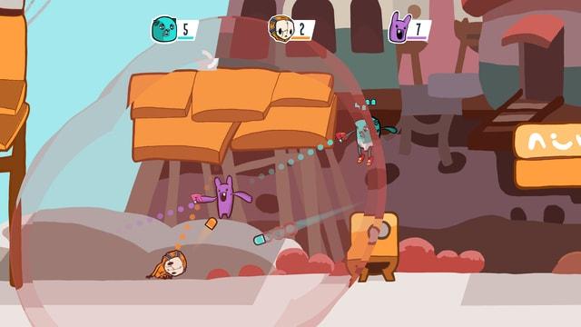 Ein Spiel bei dem bis zu 4 Spieler gegeneinander im gleichen Bildschirm antreten.