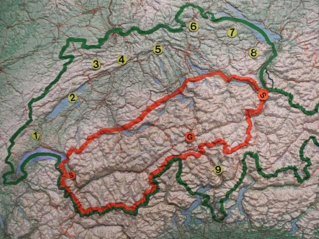 Eine geografische Karte der Schweiz.