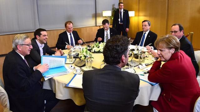 EU-Vertreter an einem ovalen Tisch