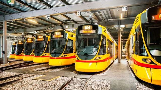 Tango-Trams stehen im Depot nebeneinander.