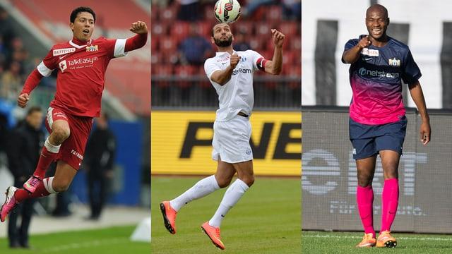 Amine Chermiti, Yassine Chikhaoui und Franck Etoundi jubeln in unterschiedlichen Posen.