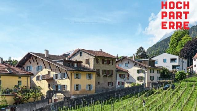 Häuser und Rebberge im Dorf Malans.