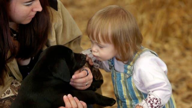 Kind küsst kleines Hundewelpen
