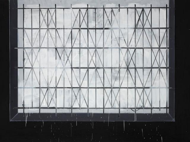 Auf schwarzem Hintergrund ein weisses Rechteck, das von vertikalen, horizontalen und digitalen Linien durchzogen ist.