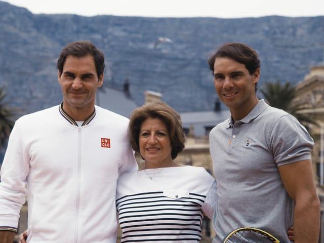 Roger Federer mit seiner Mutter Lynette und Rafael Nadal