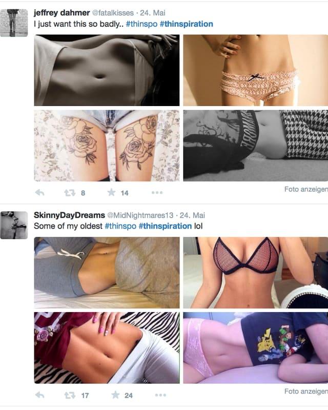 Zwei Beispiele von Idealbildern, dieunter dem Hashtag #thinspiration gepostet werden.