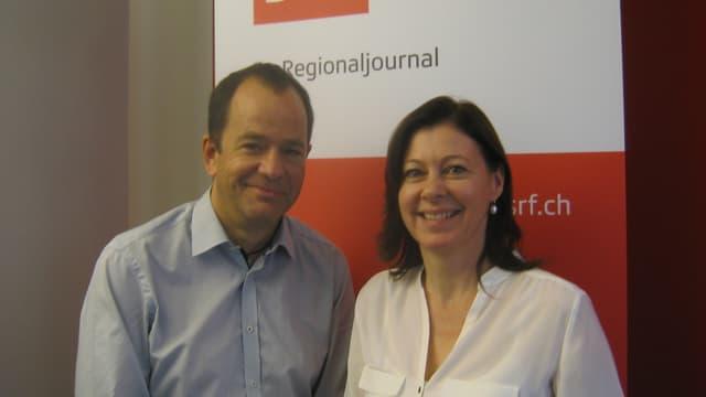 Portrait der beiden Parteipräsidenten im Radiostudio.