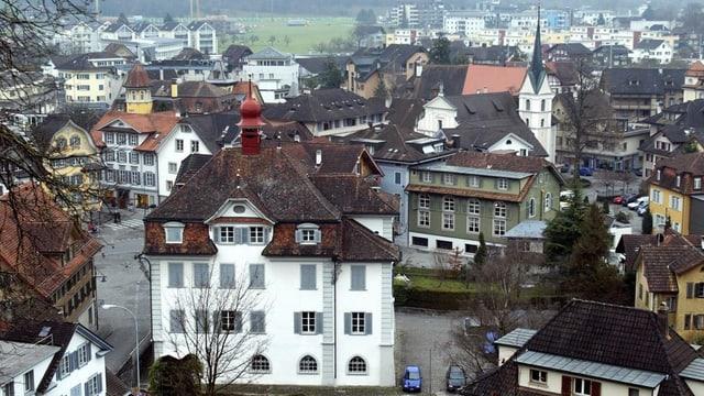 Blick vom Landenberg auf den Ort Sarnen.