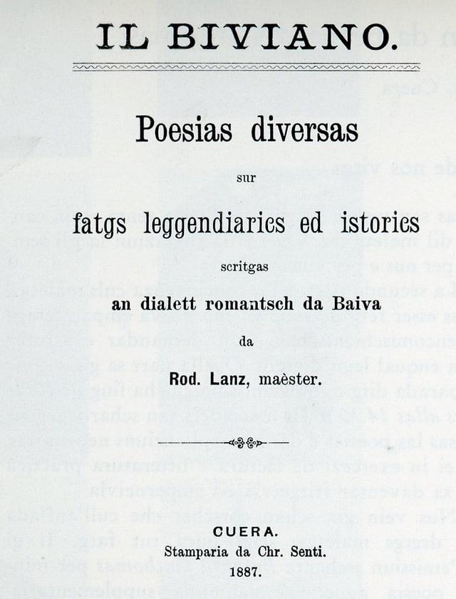 Il 'Biviano' - frontispizi da l'emprima ediziun