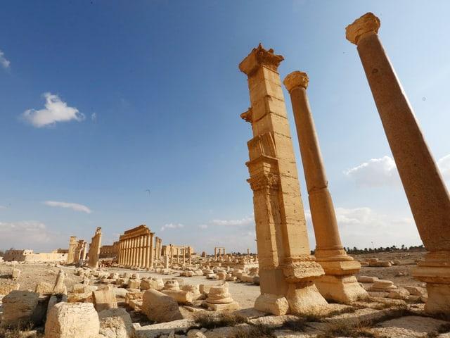 Einzelne Säulen und Trümmer in Palmyra.