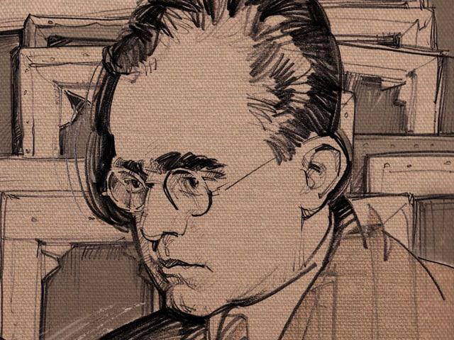 Illustration: Das Gesicht des Kunsthändlers Hildebrand Gurlitt