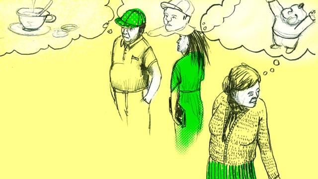 Illustration von Menschen mit Gedankenblasen