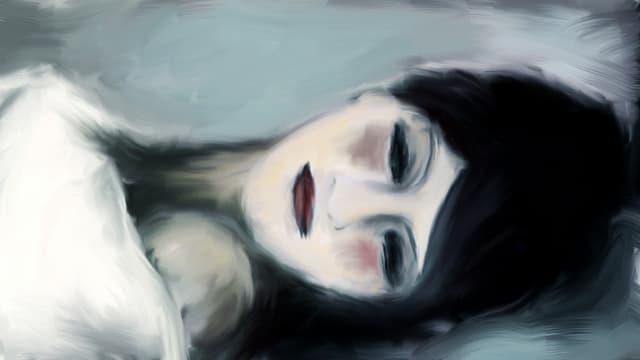 Zeichnung einer Frau mit dunklen Haaren, liegend, mit geschlossenen Augen.