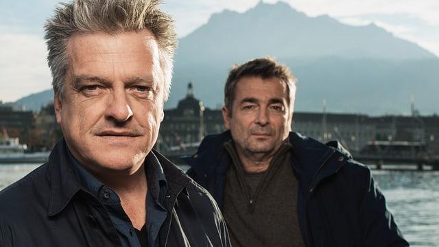 Tobias Ineichen und Stefan Gubser im Hintergrund. Vor Luzerner Kulisse.