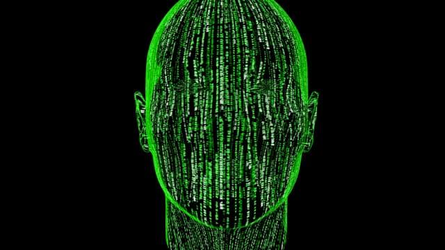 Porträt eines abstrakten binären Kopfes.