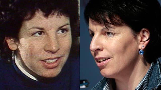 Porträtbild von Vreni Schneider auf zwei Bildern: In den 80er Jahren (links) und heute.
