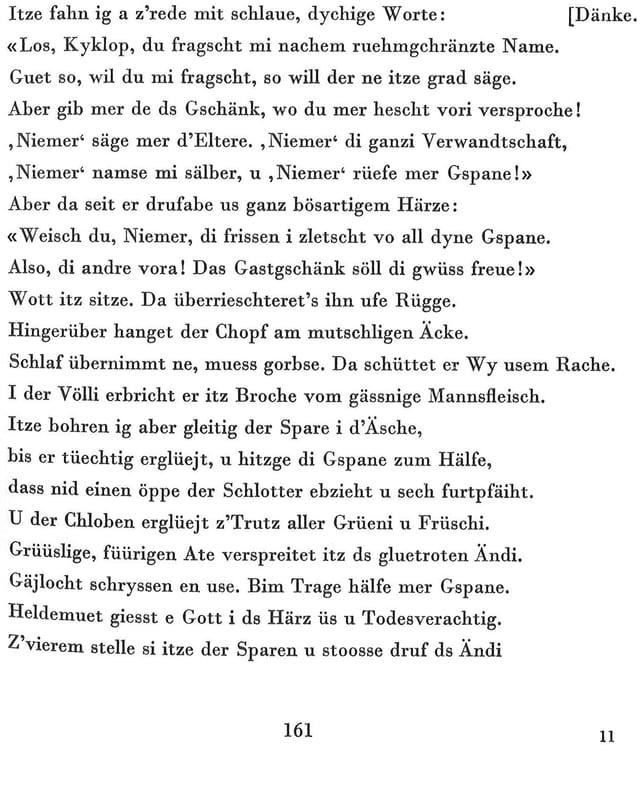1960 übersetzte der Schweizer Lehrer Albert Meyer die komplette Odyssee ins Berndeutsche.