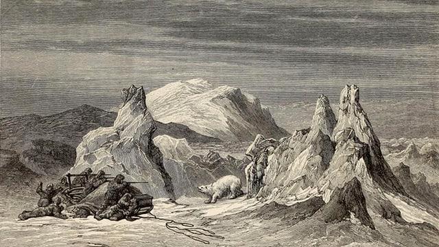 Skizze aus einem Buch: Männer machen mit einer Harpune Jagd auf einen Eisbären.