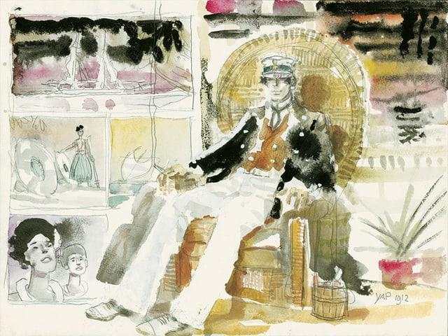 Comicbild: Ein Kapitän sitzt in einem Korbstuhl.