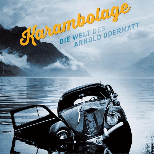 Ein Filmplakat mit einem kaputten VW Käfer im See.