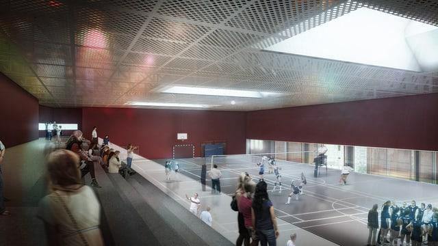Visualisierung der geplanten Dreifachsporthalle auf dem Areal der ehemaligen Stahlgiesserei in Schaffhausen.
