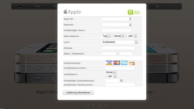 Printscreen mit Formular mit Apple-Logo.