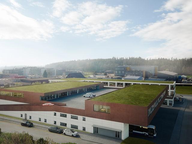 Visualisierung eines grossen, braunen Gebäudes.