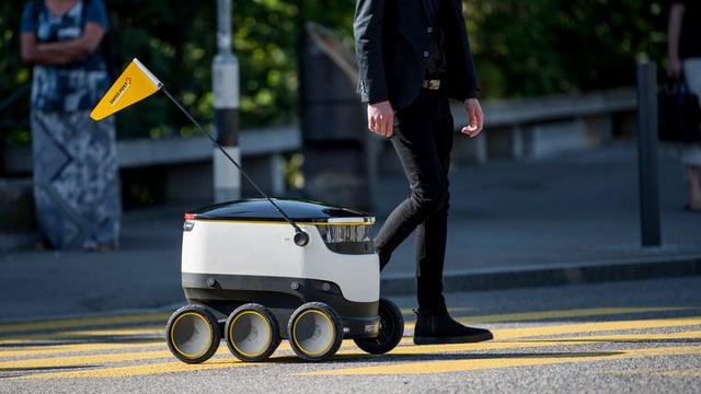Ein Roboter mit sechs Rädern fährt neben einem Fussgänger über einen Fussgängerstreifen.