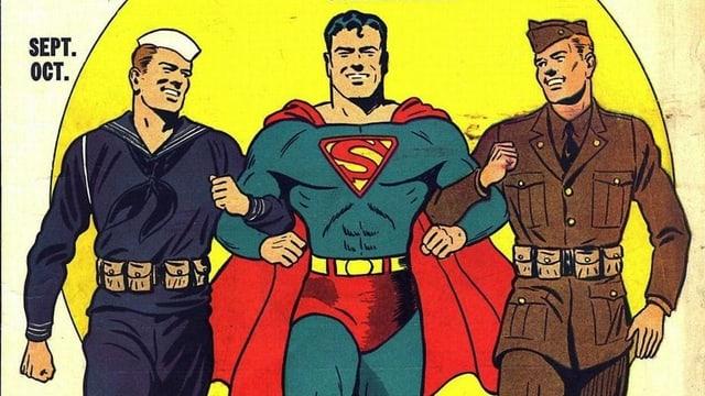 Superman mit Soldaten