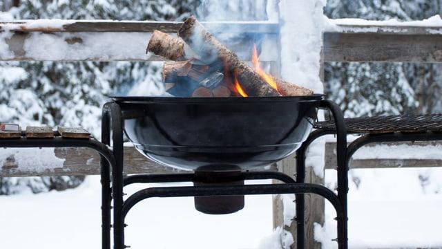 Ein Grill mit brennenden Holzscheiten steht in einem Wald im Schnee.