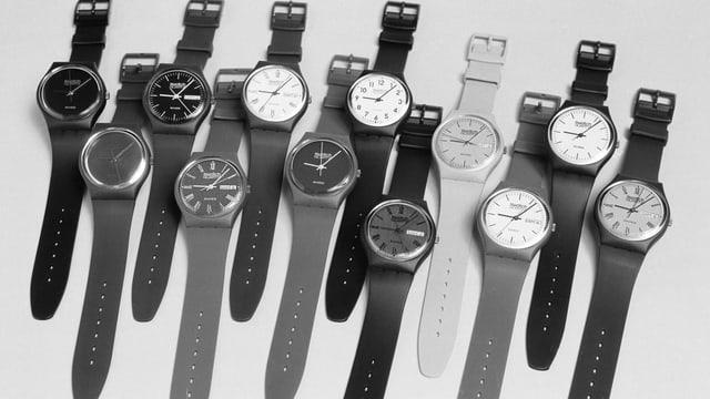 Die Swatch-Modelle aus der ersten Serie von 1983, aufgenommen im Mai 1983.