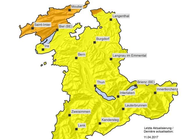 Karte des Kantons Bern.