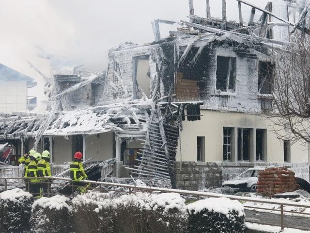 Der abgebrannte Gasthof Kaiseregg in Plaffeien.