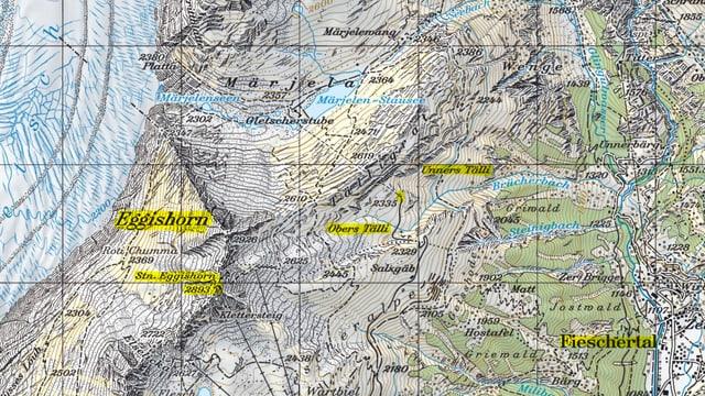 Karte des Lawinenabgangs im Oberwallis.