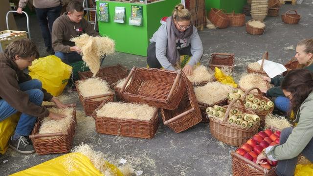 Studenten füllen Körbe mit Stroh und Gemüse.