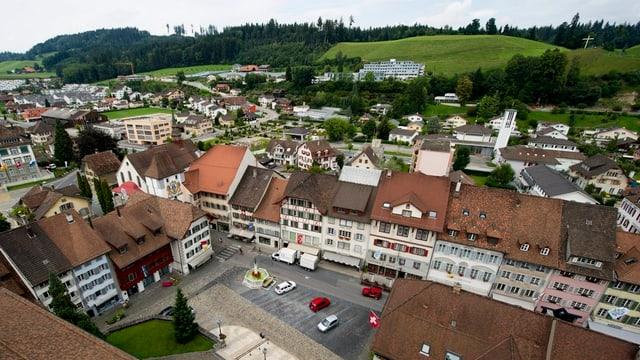 Blick von oben auf das Städtli Willisau