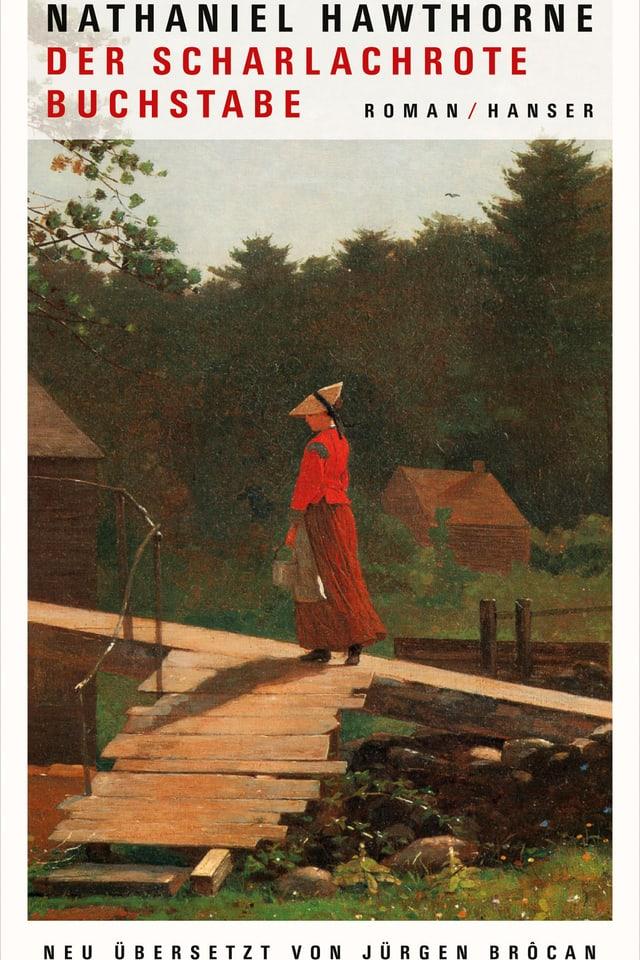 Eine rot gekleidete Frau betritt ein einfaches Haus auf dem Land.