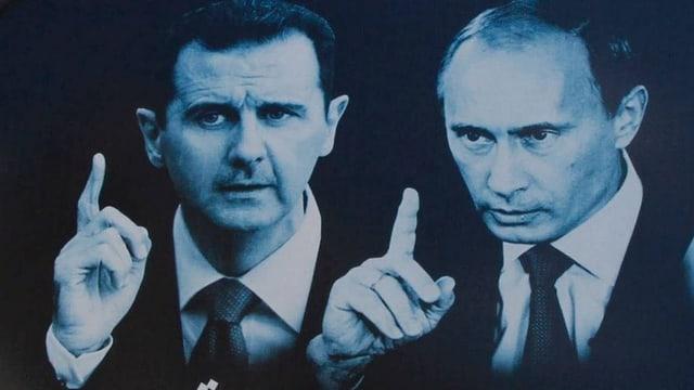 Assad und Putin auf einem Graffiti.