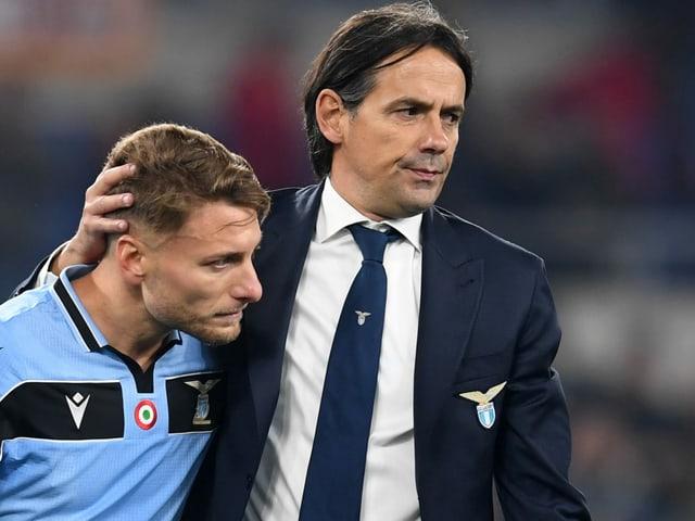 Lazio-Captain Ciro Immobile und Trainer Simone Inzaghi.