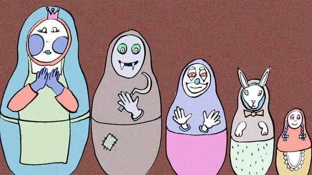 Illustration: Babuschkas in unterschiedlicher Grösse stehen nebeneinander