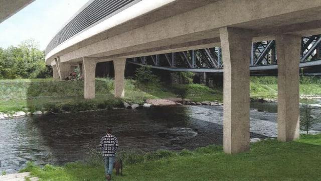 Visualisierung der geplanten Eisenbahnbrücke über die Wiese.