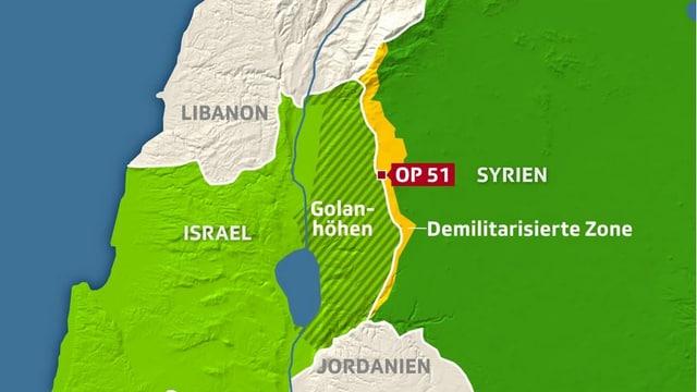 Karte zu den Golanhöhen