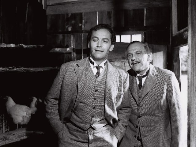 Zwei Männer stehen im Hühnerstall.