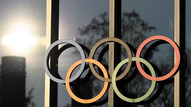 Die Olympischen Ringe im Abendlicht.