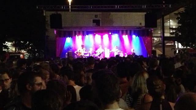 Viele Leute hören sich vor einer Bühne ein Konzert an.