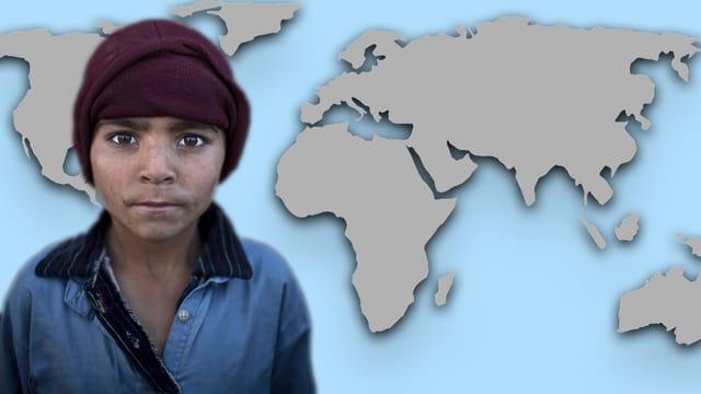 Bildcollage: Junge vor Weltkarte