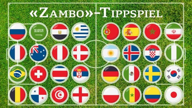All Fahnen der 32 WM-Teilnehmer
