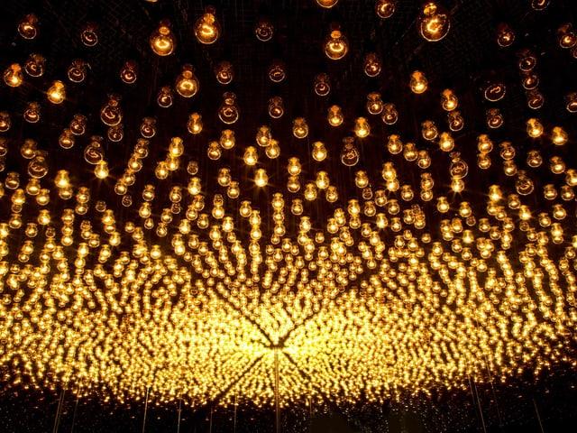 Ein schwarzer Raum, an der Decke hängen Glühbirnen.